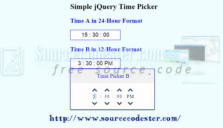 Simple jQuery Time Picker | Free Source Code & Tutorials