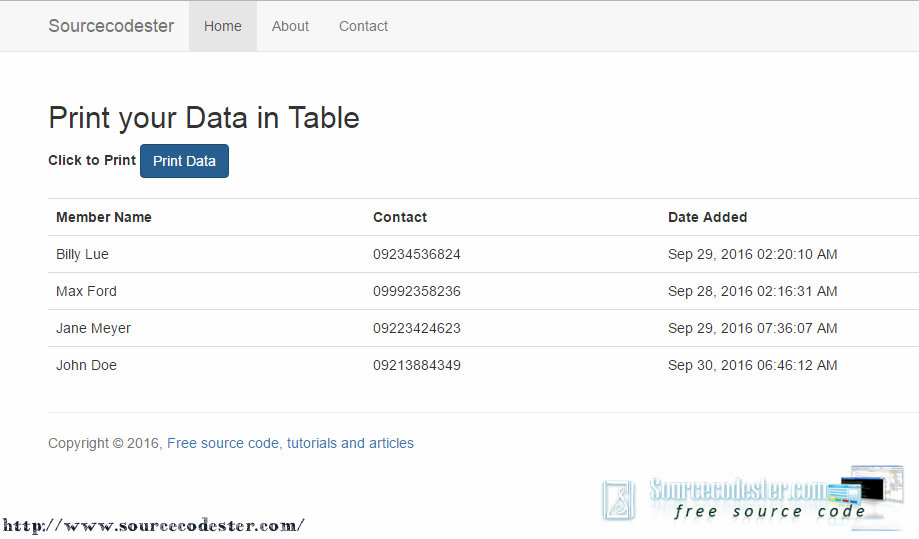How to Print your Data in Table | Free Source Code & Tutorials