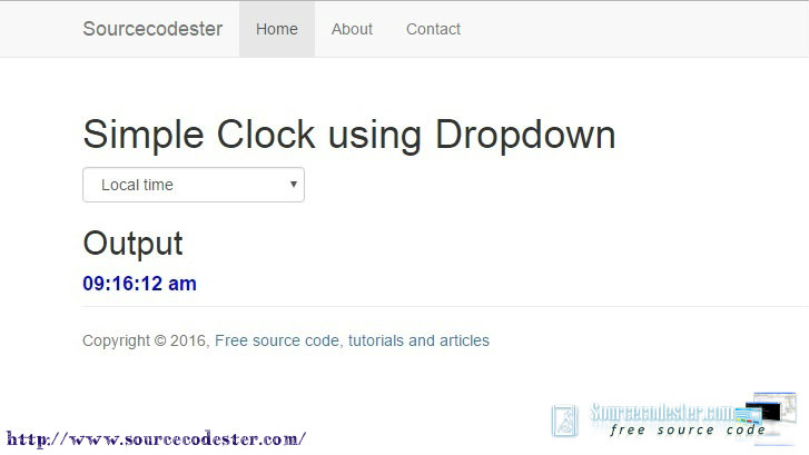 Simple Clock using Dropdown in Bootstrap Template   Free Source Code