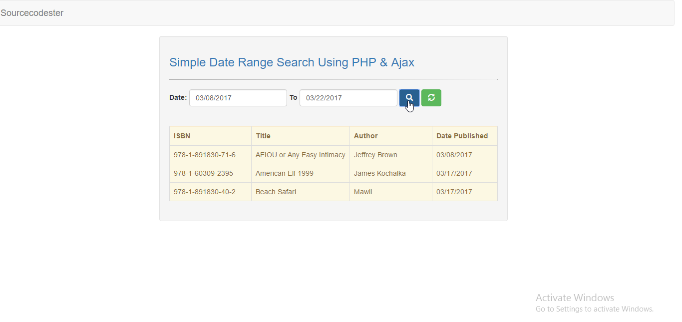 Simple Date Range Search Using PHP/Ajax | Free Source Code