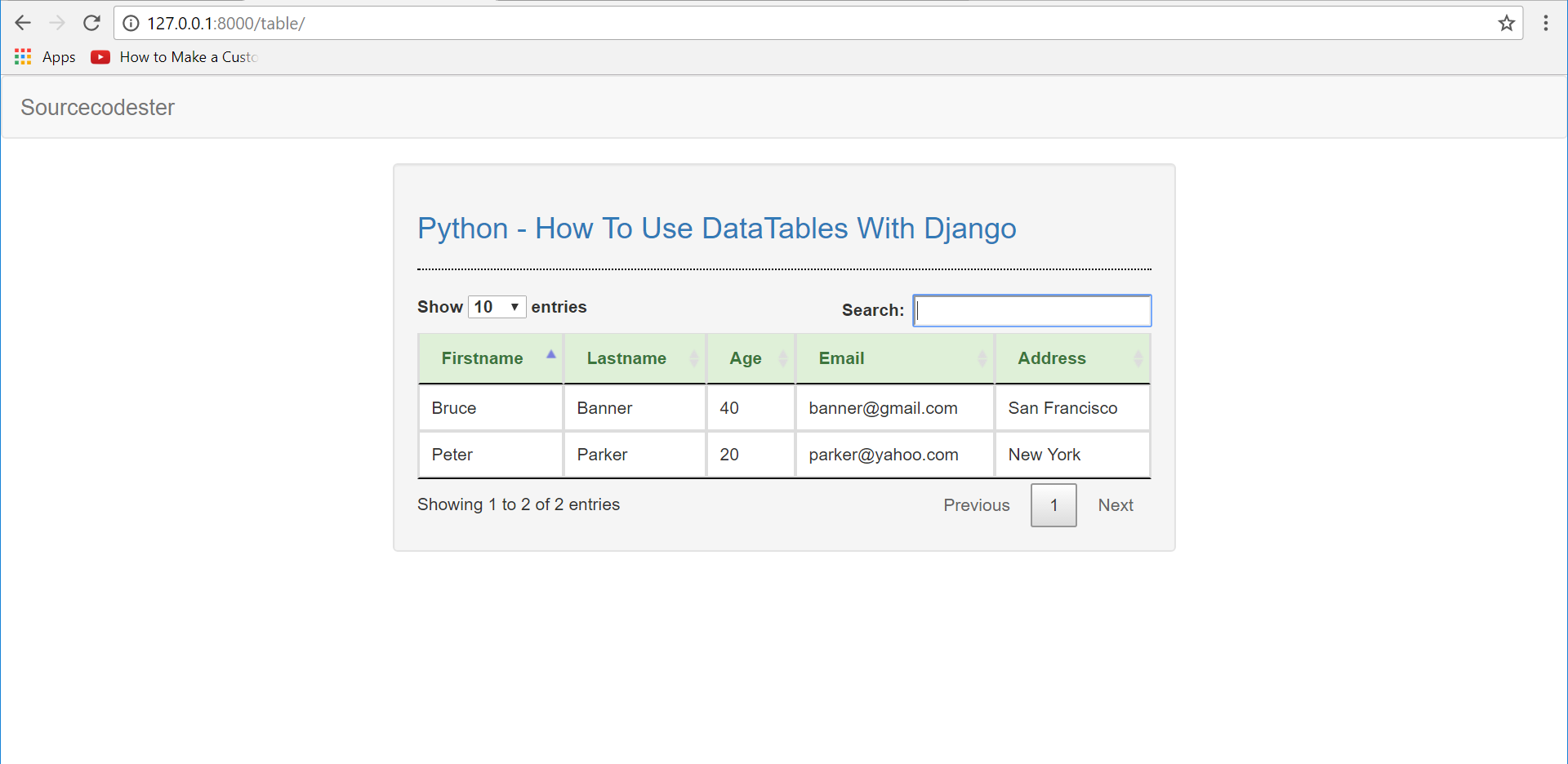 Python - How To Use DataTables With Django | Free Source