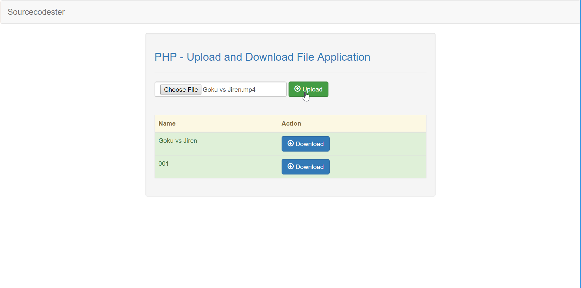 PHP - Upload and Download File Application | Free Source