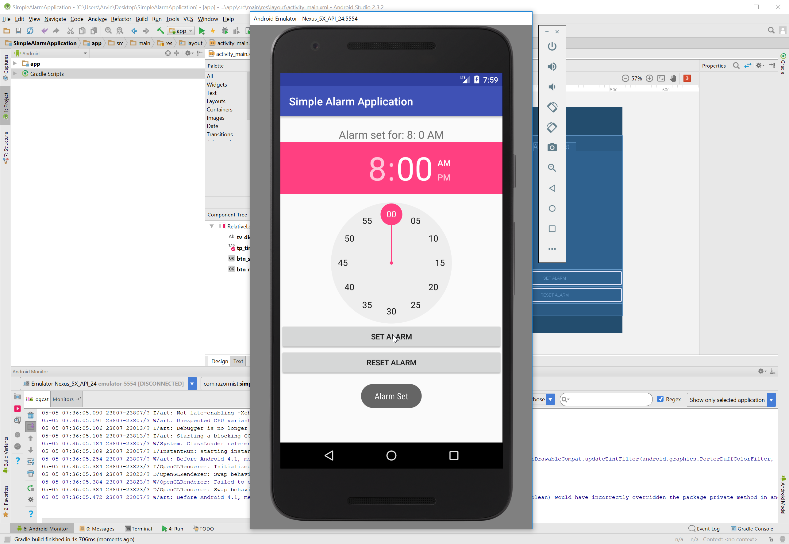 Android - Simple Alarm Application   Free Source Code