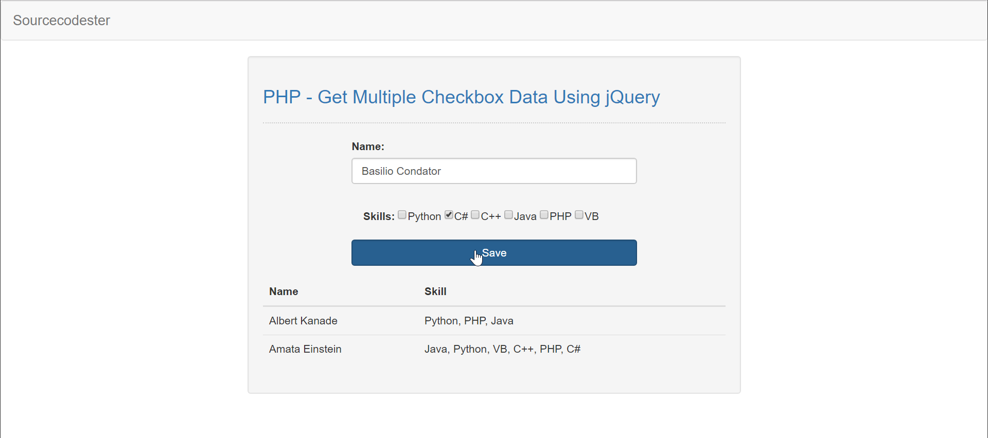 PHP - Get Multiple Checkbox Data Using jQuery | Free Source Code