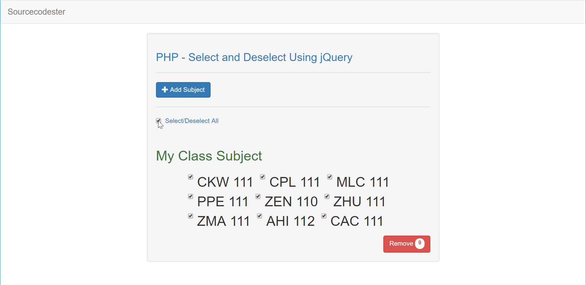 PHP - Select and Deselect Using jQuery | Free Source Code