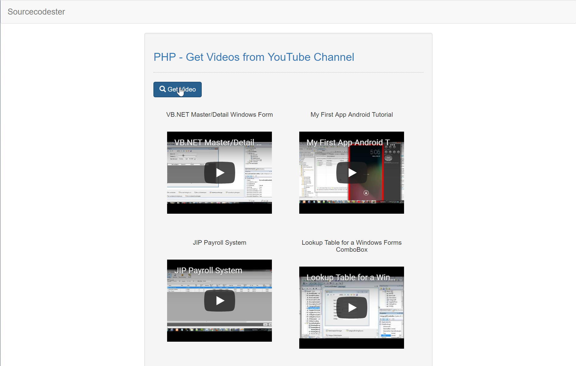 PHP - Display Videos from YouTube Channel | Free Source Code