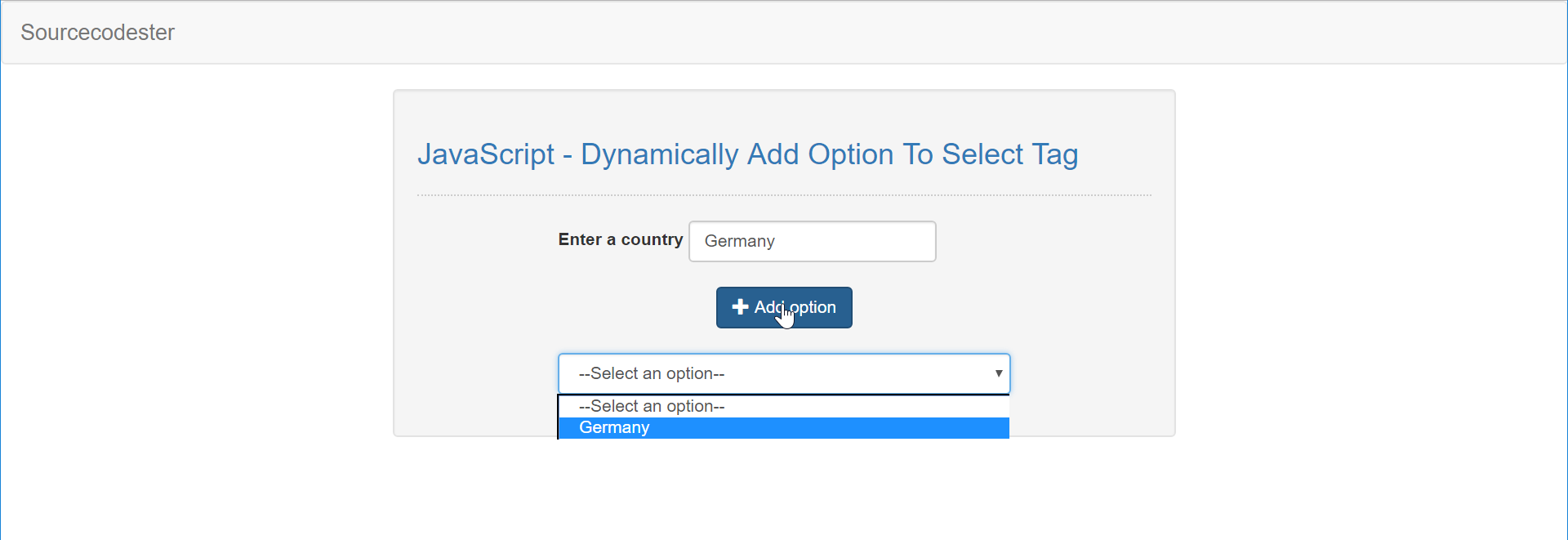 JavaScript - Dynamically Add Option To Select Tag | Free