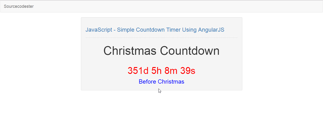 JavaScript - Simple Countdown Timer Using AngularJS | Free Source