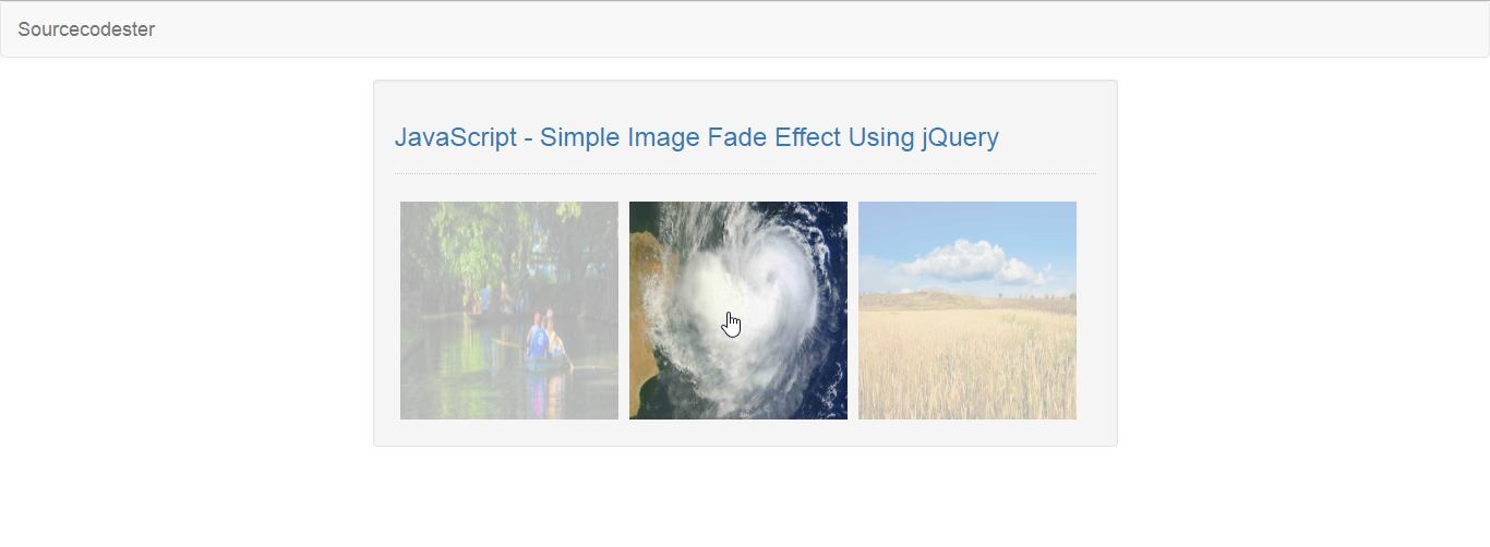 JavaScript - Simple Image Fade Effect Using jQuery | Free