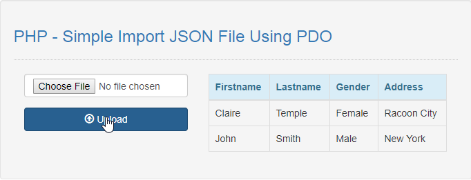 PHP - Simple Import JSON File Using PDO | Free Source Code