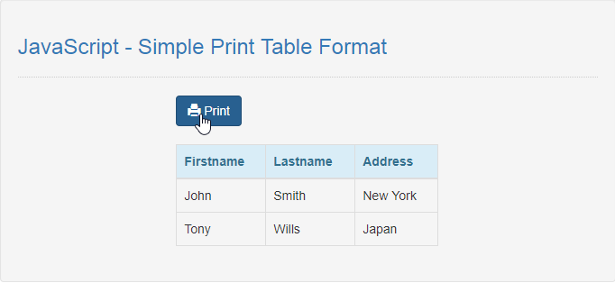 JavaScript - Simple Print Table Format | Free Source Code