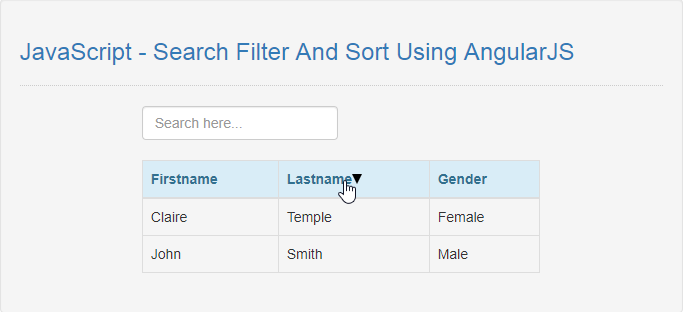 JavaScript - Search Filter And Sort Using AngularJS | Free