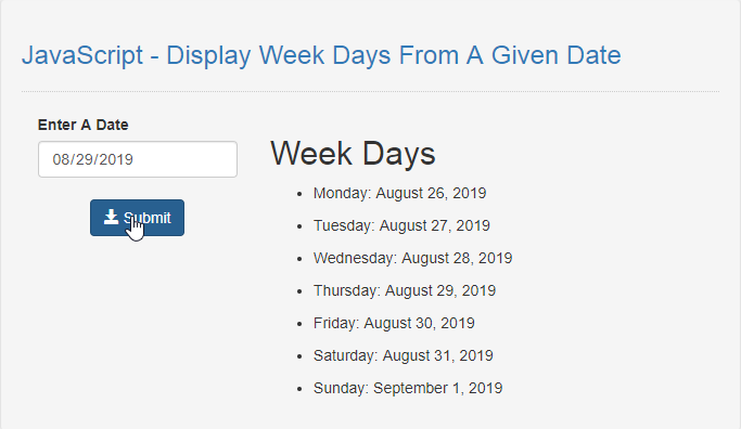 JavaScript - Display Week Days From A Given Date | Free