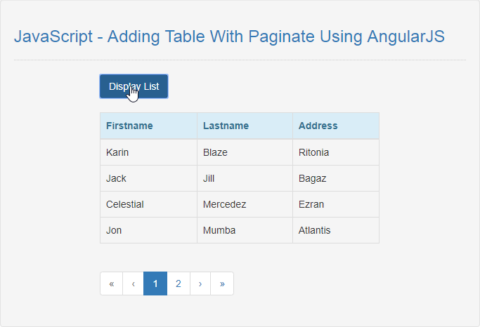 JavaScript - Adding Table With Paginate Using AngularJS