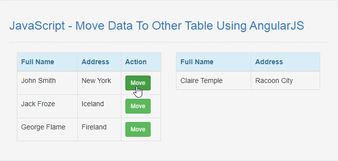 JavaScript - Move Data To Other Table Using AngularJS | Free