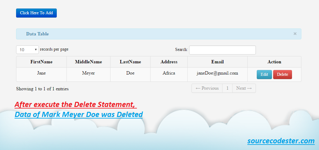Add, Edit, Delete with data table using PDO in PHP/MySQL
