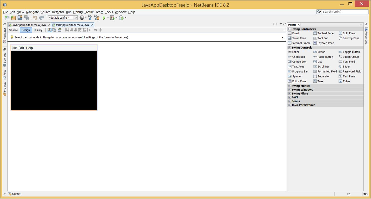 7_1 Java Application Template Netbeans on run file output window filter button, window editor, gui add paddles, gui applications, how build android-app, how make about page, tutorial project 2, console output example,