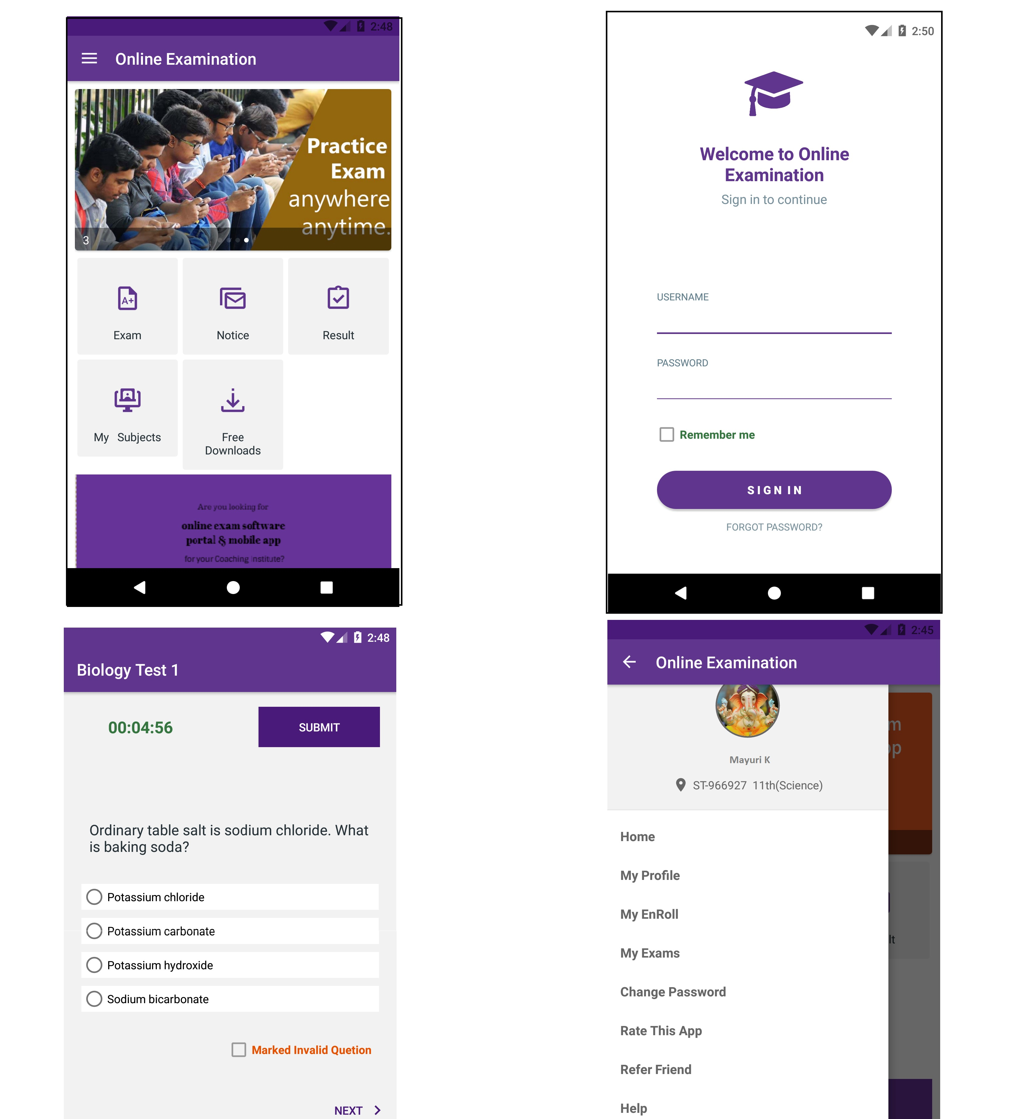 Online Exam Android App with Admin Panel | Free Source Code