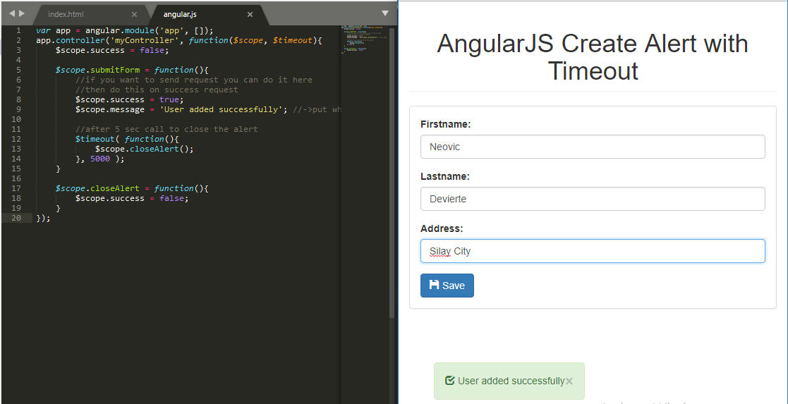 Create Alert with Timeout using Angular JS | Free Source