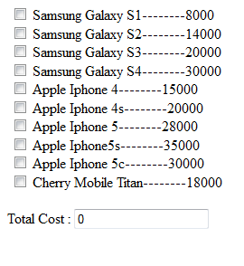 Calculate Or Auto Sum the Value Using Checkbox with JavaScript and