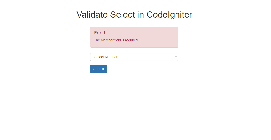How to Validate Select in CodeIgniter | Free Source Code