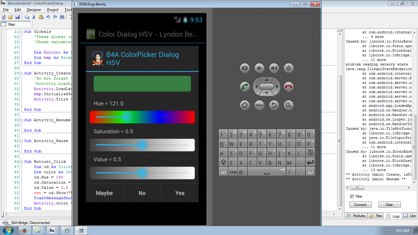 Android Color Hue Saturation Value Dialog using