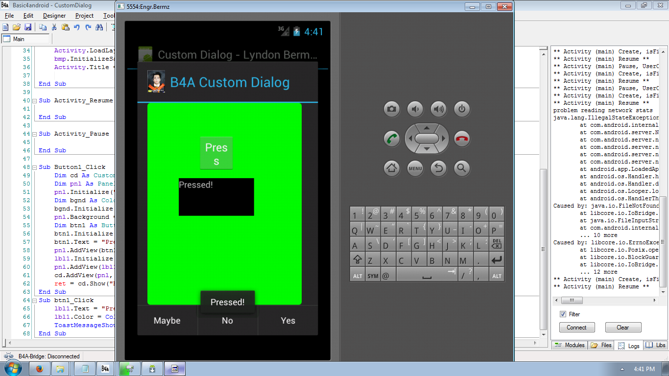 Android Custom Dialog Tutorial using Basic4Android | Free