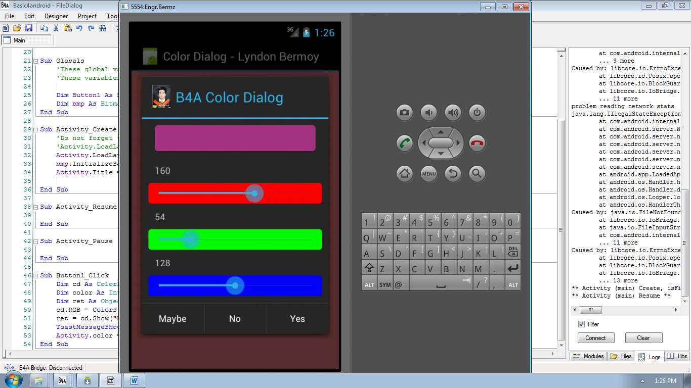 Android Color Dialog Tutorial using Basic4Android | Free