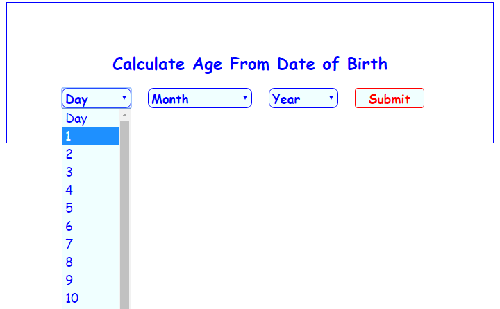 Calculate age from date of birth in Melbourne