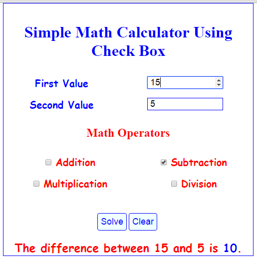 Subtraction Result
