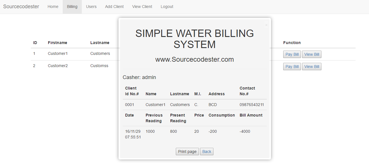PHP/MySQL Simple Water Billing System | Free Source Code & Tutorials