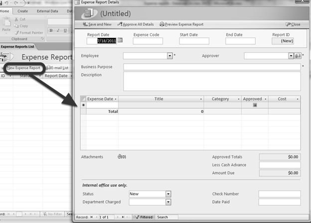 report expense form and