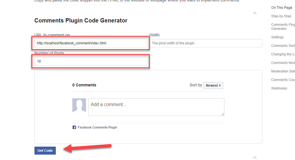 facebook comment plugin generator