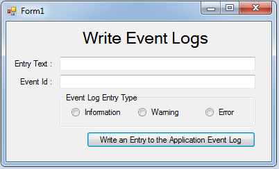 How to write to the event log
