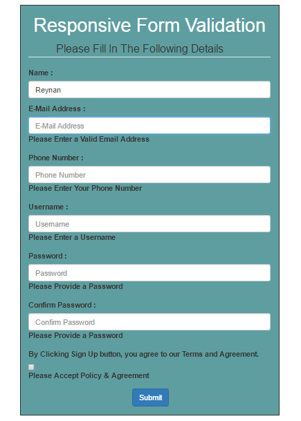 Responsive Form Validation