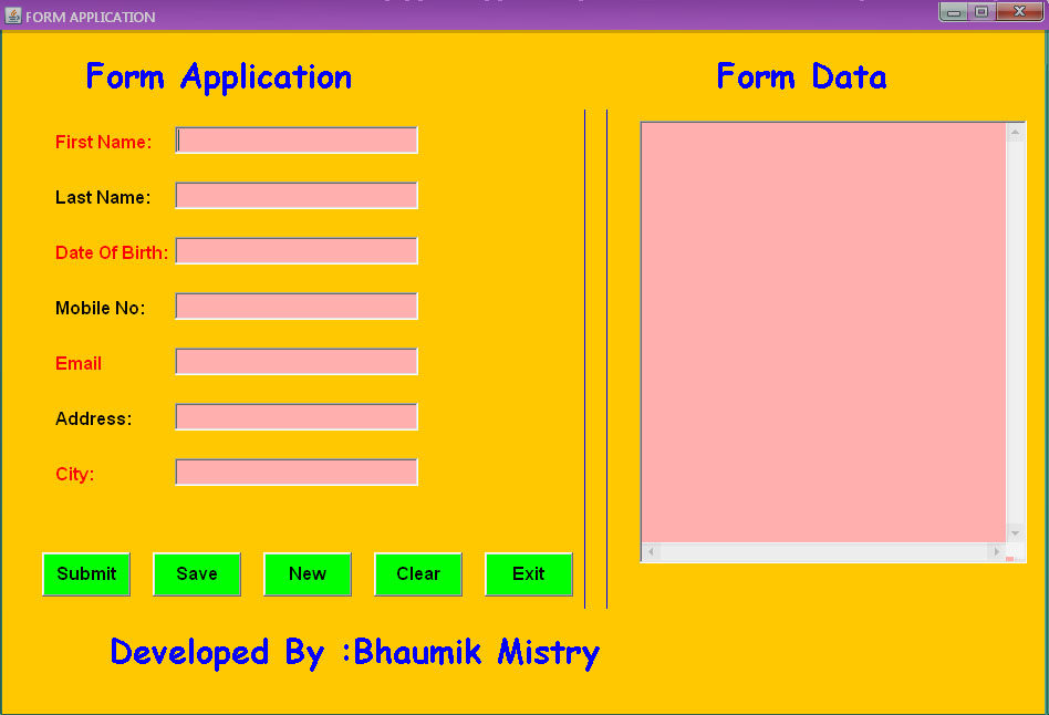 How To Make Basic Form Application Using Java | Free Source Code