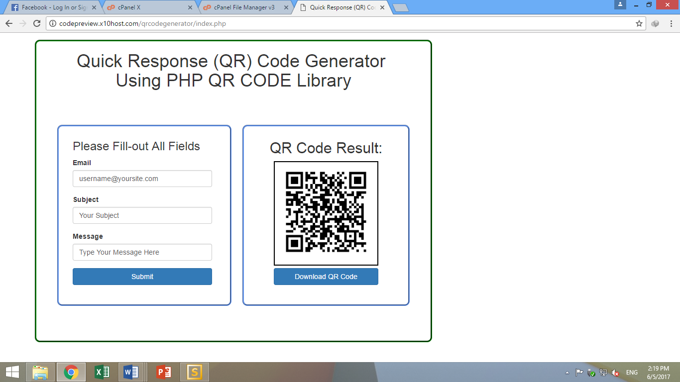 Quick Response (QR) Code Generator Using PHP QR CODE Library