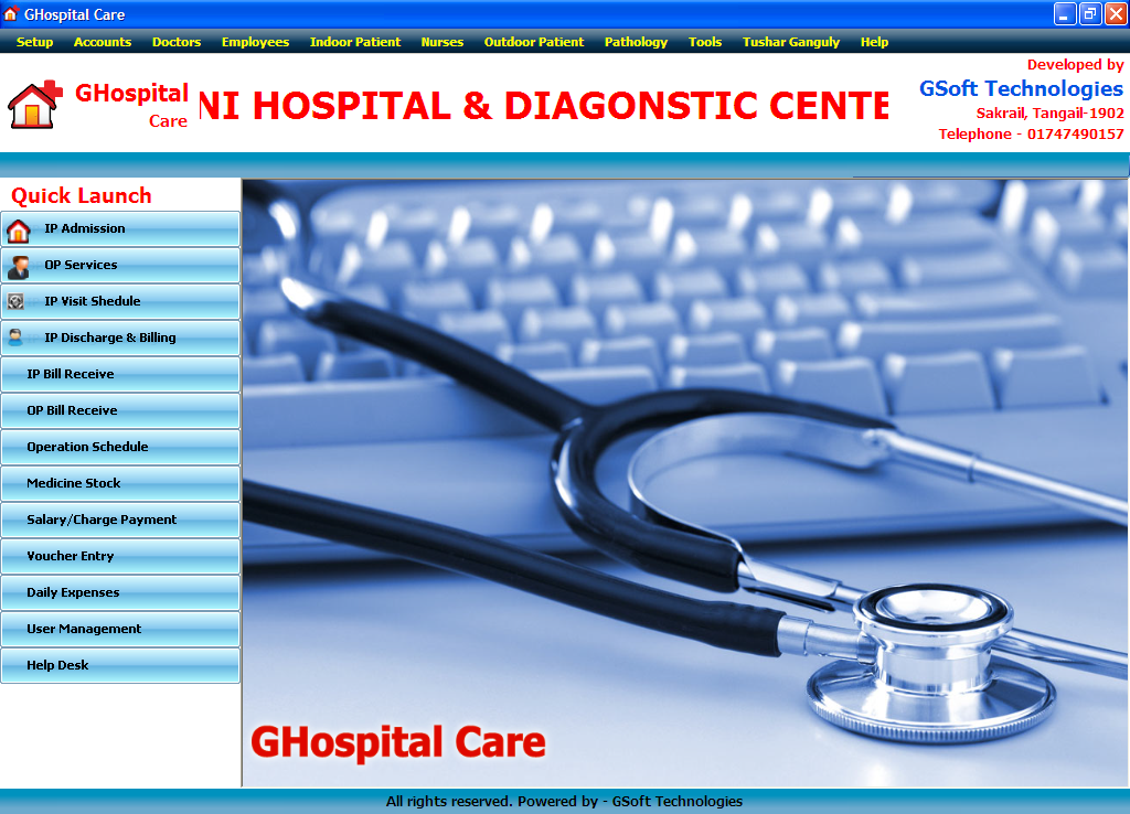 GHospital Care | Clinic Management System | Free Source Code
