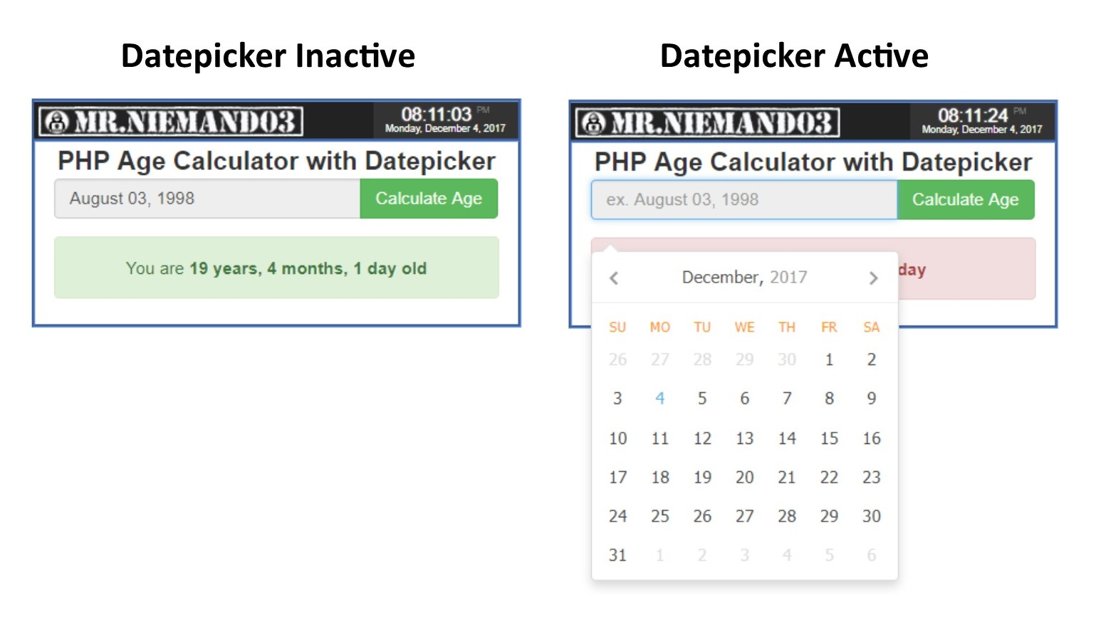 Free php code for date picker android