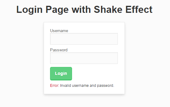 Login Page With Shake Effect Free Source Code Tutorials