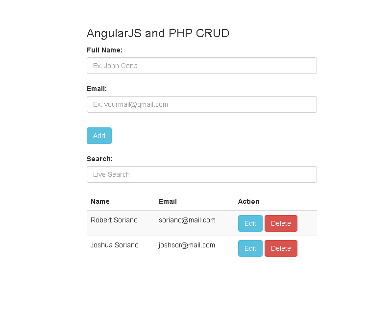live add  edit  delete and search using php and angularjs