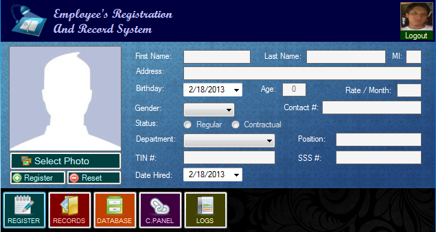 Employee S Registration And Record System Free Source