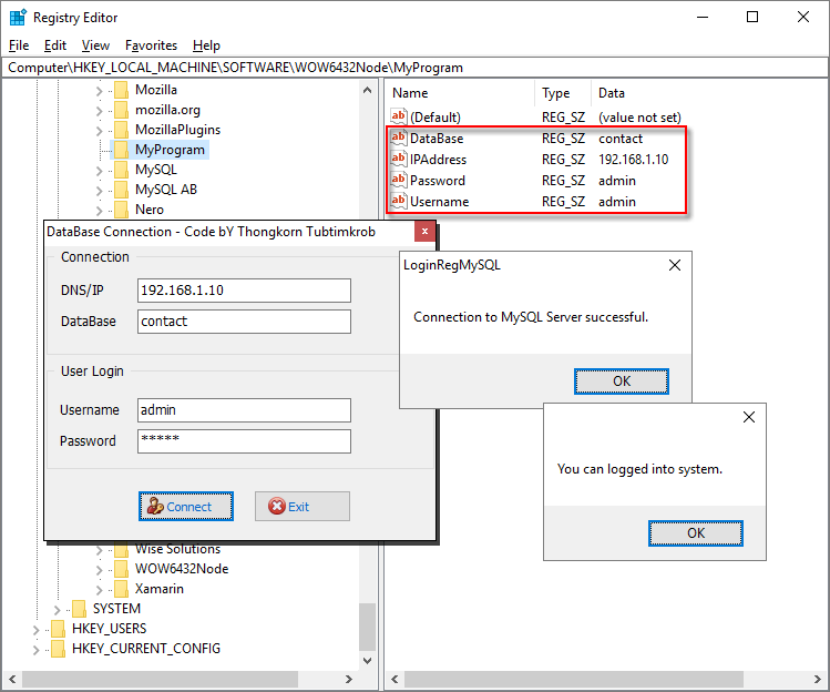 Login to MySQL Server and configuration in registry | Free