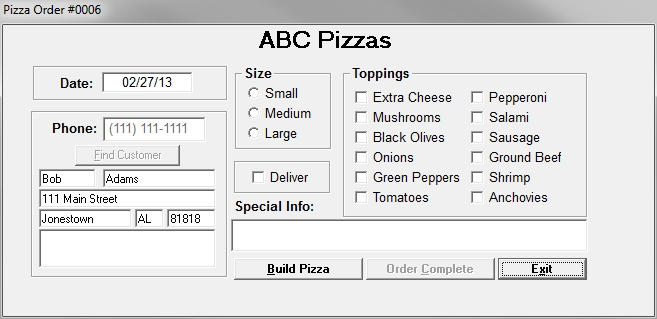 Pizza Order Free Source Code Tutorials And Articles