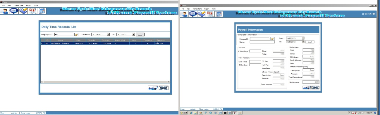 payroll system with daily time record