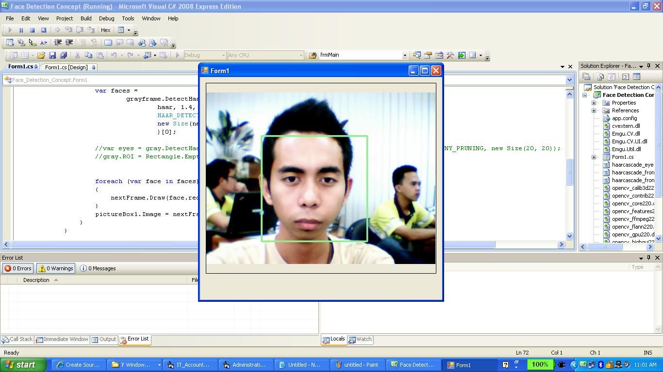face detection concept in c