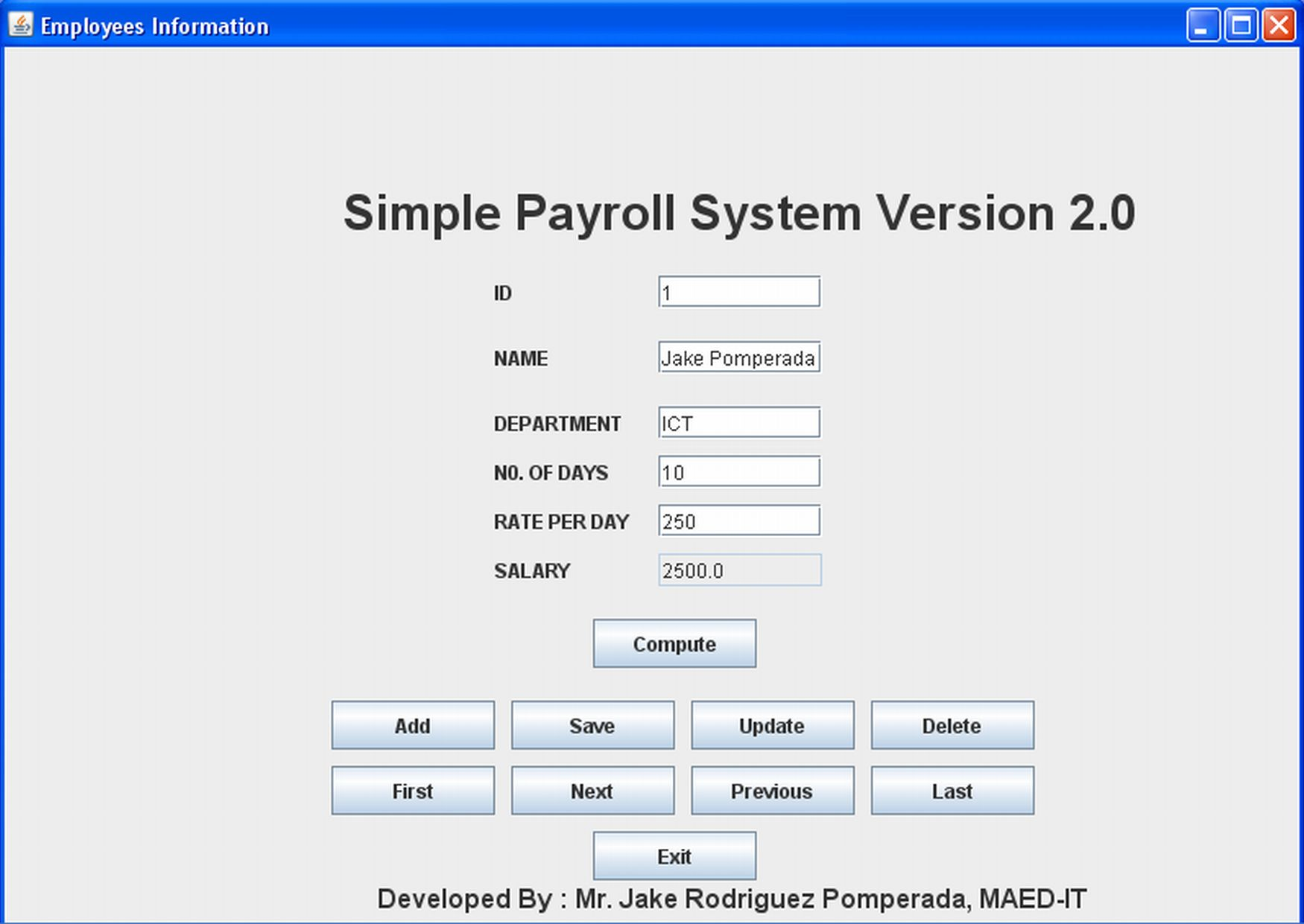 simple employee payroll system version 2 0 free source code tutorials and articles. Black Bedroom Furniture Sets. Home Design Ideas