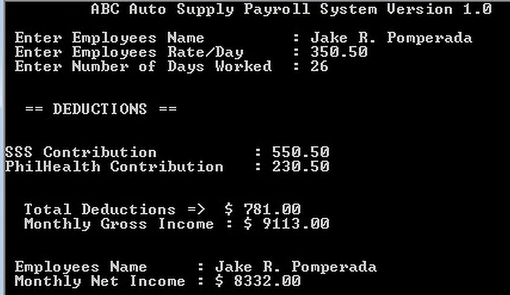 Abc Auto Supply Payroll System Version 1 0 Using Struct