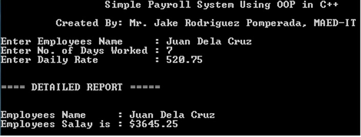Simple Payroll System Using Object Oriented Programming in
