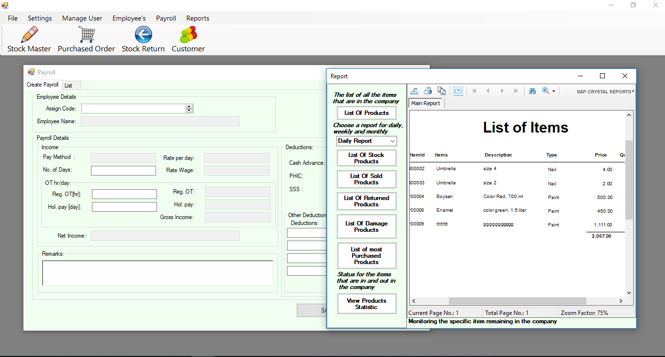 Inventory with Payroll System in VB Net | Free Source Code
